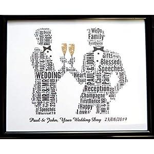 Neue Personalisierte männliche Homosexuelle Hochzeit oder Hochzeit, Wort Kunst (B) in einem Glas Frontrahmen, schönes Geschenk und Andenken, weniger Porto