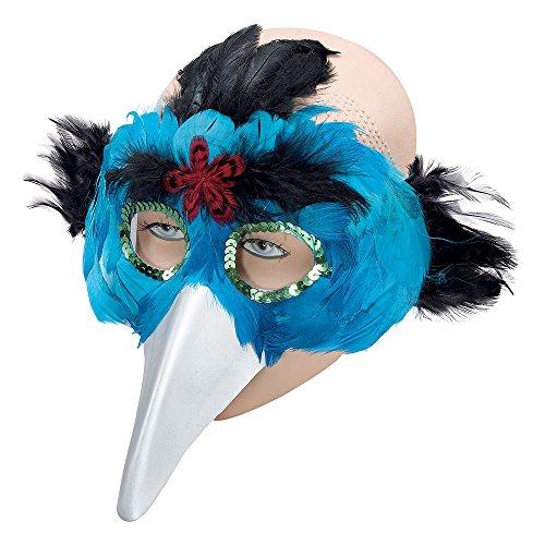 8 Feder Augenmaske mit Schnabel, Türkisblau, Damen, türkis, Einheitsgröße ()