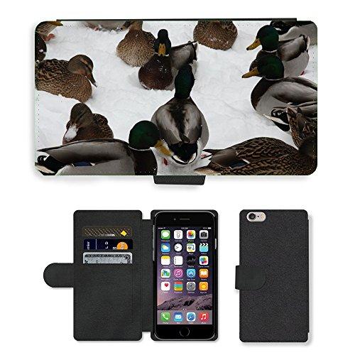 Just Mobile pour Hot Style Téléphone portable étui portefeuille en cuir PU avec fente pour carte//m00139353Canards Animaux d'Oiseaux d'Oiseau d'Eau//Apple iPhone 6Plus 14cm