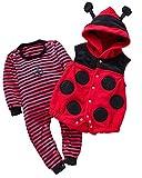 Kidsform Unisex Baby Langarm Bodysuit Overalls Jumpsuit Playsuits Kleidung Set mit Weste Rot 9-12M
