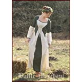 Mittelalterkleid Elena aus Baumwolle/Leinen, grün/natur - LARPkleid