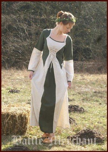 Mittelalterkleid Elena aus Baumwolle/Leinen, grün/natur - LARPkleid Größe S/M