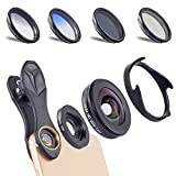 Apexel 6 in 1 Universal Clip-on Cell Phone Camera Lens Kit 0.6X Wide