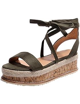 Sandalias para Mujer Verano 2018 PAOLIAN Romano Zapatos de Plataforma Playa Cruz de Cordones Fiesta Sandalias...