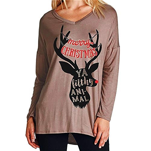 Damen Tops Langarm Brief Weihnachten Elk Head Print Bluse T-Shirt Rentier Sleepwear O-Neck Casual Pullover Shirt Stricken Sweater Oberteile Strickpullover Strickpulli Sweatshirt(Kaffee/F,L)