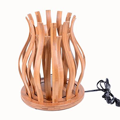 LVJING Lámpara pie lámpara bambú mesita Noche Lámpara