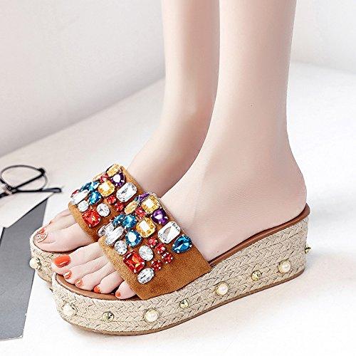 RUGAI-UE Donne pantofole estate indossare le suole spesse pantofole rivetto spiaggia ragazza scarpe Yellow