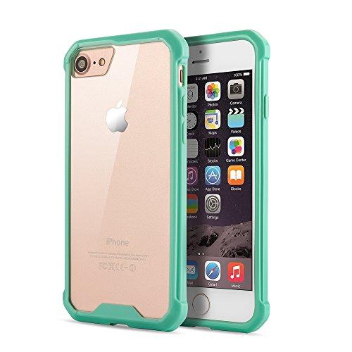 VAPIAO protecteur de bord Coque Houssesilicone TPU Etui de Protection Back Case pour Apple iPhone 7 en Transparent Turquoise