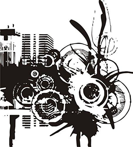 T-Shirt E461 Schönes T-Shirt mit farbigem Brustaufdruck - Logo / Grafik - abstraktes Design - Skyline mit Ornament aus Kreisen Mehrfarbig