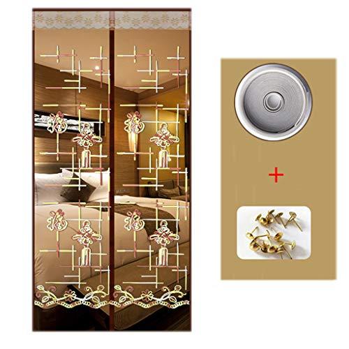 BYCDD Magnet Fliegengitter tür BalkontüR, Selbstabdichtung Full Frame Klettverschluss Insektenschutz Magnet für französische Türen,Coffee_43x83in/110x210CM