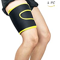 Fitstyle Women & Men Neoprene Adjustable Thigh Support Brace Thigh Compression Wrap Sleeve with Non-Slip Velcro for Sore Quad, Groin & Hamstring Support