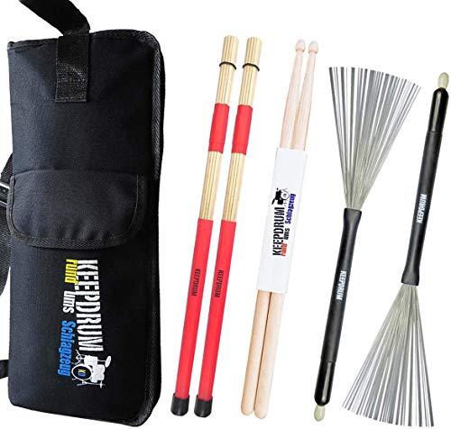 keepdrum Stickbag + SV1 Rods + SV506 Switchbrush Besen + 5a Drumsticks