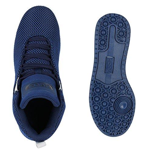 Sportliche Herren Damen Unisex Sport Schuhe Sneaker High Top Basketballschuhe Cultz 90's Style Dunkelblau