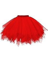 MRULIC Damen Petticoat Unterrock Underskirt für Rockabilly Kleid Mesh Farbe  Kurzer Rock Plissee Gaze Kurzer Rock 8aceb98a9f