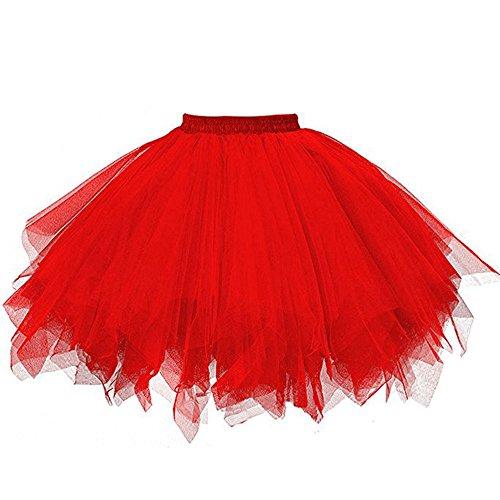 MRULIC Damen Petticoat Unterrock Underskirt für Rockabilly Kleid Mesh Farbe Kurzer Rock Plissee Gaze Kurzer Rock Karneval Mädchen Tutu Tanzen Rock(A-Rot,M/Waist:66-110cm)