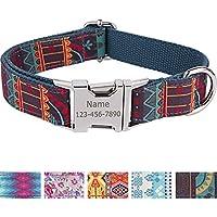 Collar personalizado para perro con nombre grabado a láser en hebilla de acero inoxidable, estampados modernos