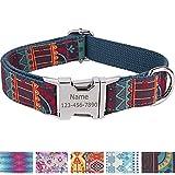 Vcalabashor Personalisiertes Hundehalsband mit Hundename und Telefonnummer/Strapazierfähiger Stoff mit Mode-Muster und Metallschnallen/Für kleine Hunde/Grünliches Blau