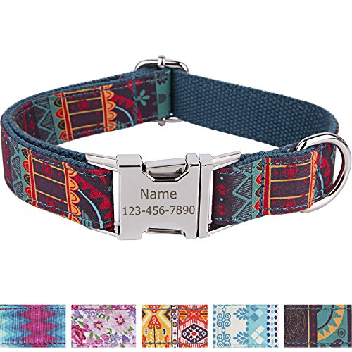 Collar personalizado para perro con nombre grabado a láser en hebilla de...