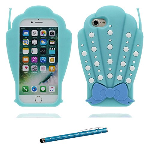 "Hülle iPhone 6 6s Cover Karikatur-Tierentwurf -3D Muscheln Bowknot TPU Form Gummi Gel Neues, iPhone 6 Handyhülle 4.7"", iPhone 6S case 4.7"" Schock-Poof und Touchstift blau"