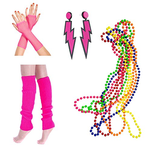 80s Fancy Dress Legwarmers, Lightning Earrings, Fishnet Gloves, Multicolour Bead Necklaces