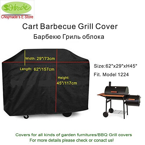 Generic 62&Quot; Larger Cart BBQ Grill Cover,Water Proof BBQ Cover with Ribbons, BBQ Grill Protective Cover, Black