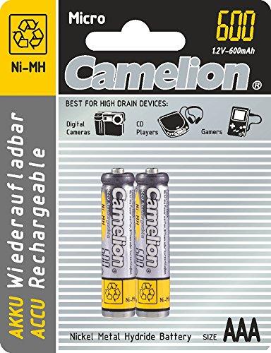 Camelion 59840 Pack de 2 Piles rechargeables NiMH LR3/AAA 1,2 V 600 mAh