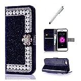 coque samsung s8 plus MUTOUREN PU perle brillant Cuir Flip Cover Case Wallet Fonction Support avec Porte cartes Fermeture Magnétique (Black)