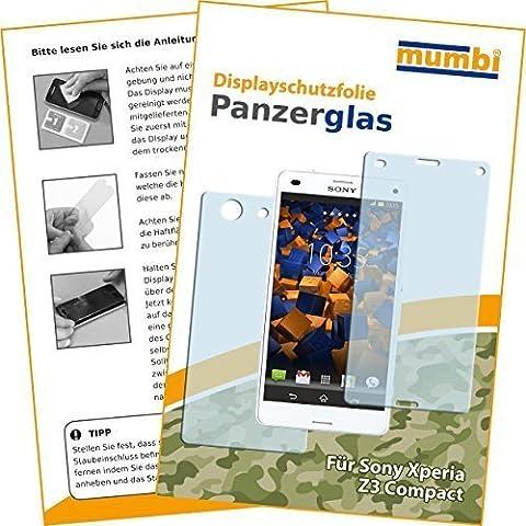 2x mumbi Panzerfolie für Sony Xperia Z3 Compact Glasfolie Hartglas 9H (1 x VORNE und 1 x RÜCK
