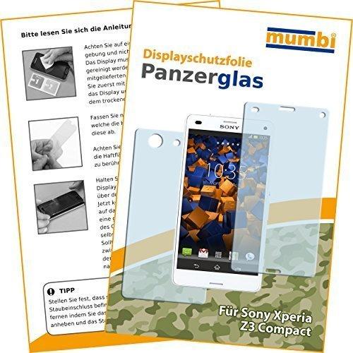 2x mumbi Panzerfolie für Sony Xperia Z3 Compact Glasfolie Hartglas 9H (1 x VORNE und 1 x RÜCK Folie) (Z3 Compact Displayschutzfolie)
