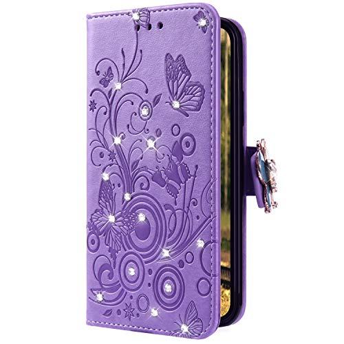 Uposao Kompatibel mit Xiaomi Redmi 6 Handyhülle Schmetterling Blumen Muster Luxus Bling Glitzer Leder Wallet Schutzhülle Brieftasche Leder Hülle Klapphülle Brieftasche Tasche,Lila