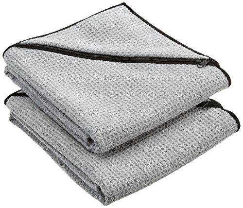 Banters® Sporthandtuch für`s Fitnessstudio mit Tasche, Antirutsch-Funktion aus Microfaser im praktischen Netzbeutel, Waschbar bei 60° (Doppelpack)