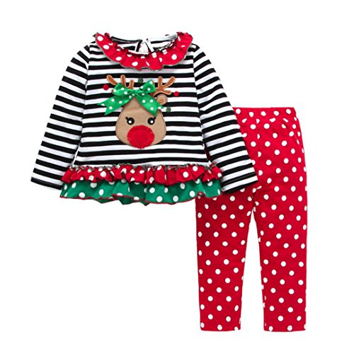 Longra Baby Kinder Mädchen Kleidung Set Prinzessin Hirsch Gestreifte Langarmshirts Tops + Lang Hosen Kindermode Weihnachten Karneval Party Kinderkleidung (0-4Jahre) (90CM 18Monate, Multicolor) (Mini-gestreifte Shorts)