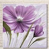TTKX@ Handgemachten Blumen Gemälde Home Decoration Leinwand Große Lila Blumen Bild Handgemalte Abstrakte Blumen-Ölgemälde,50X50Cm