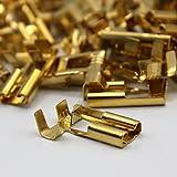 100 Kabelschuh 6,3mm 90° gewinkelt winkel blank 0,5 - 1,5 Flachsteckhülse Steckverbinder Klemmen zum crimpen