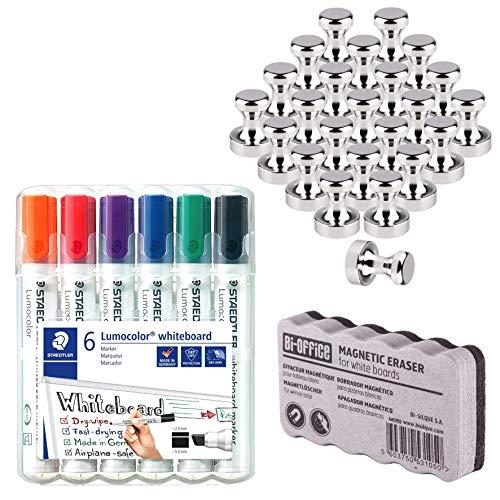 24 Neodym Magnet für Magnettafel, Pinnwand, Whiteboard   Staedtler Lumocolor 351 B WP6 Whiteboard-Marker Keilspitze 2-5 mm Linienbreite, mit 6 Farben   Bi-Office Whiteboardlöscher, magnetisch