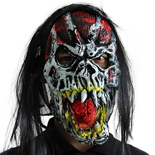 ruikey Horror Teufel Maske Scary Maske aus Latex Halloween-Kostüm Party Full Face Kopfbedeckung Maske Prop für Erwachsene, Buck Teeth Devil, 28x35cm