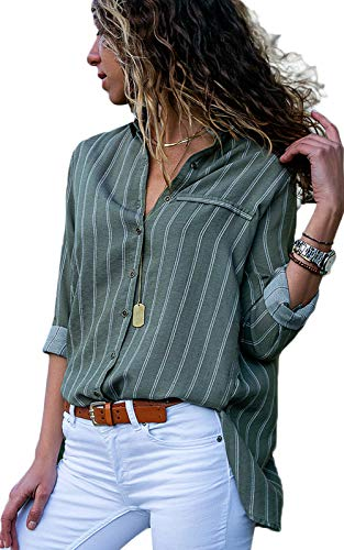 Dokotoo Damen Bluse Elegant Chiffon V-Ausschnitt Langarm Casual Oberteil  Lose Langarmshirt Vintage Tunika Hemd T-Shirt S-XXL, Grün, Small (EU36-EU38) 0f7087fce6