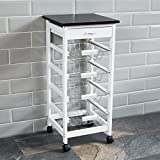Chef Vida Vierfächriger Küchenrollwagen Aus Holz, Weiß