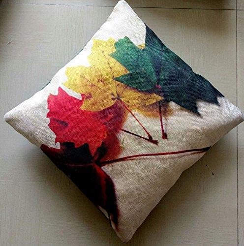 Lipsunique Jute Digital 3D Print Cushion Cover 16X16 Set Of 5 Piece/Leaves