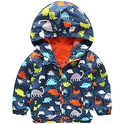 Logobeing Niño Chaqueta Con Capucha, Dinosaurios Invierno Encapuchados Dibujos Abrigos Sudadera Abrigo Ropa de Abrigo Caliente (Marina, 100)