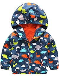 Logobeing Niño Chaqueta con Capucha, Dinosaurios Invierno Encapuchados Dibujos Abrigos Sudadera Abrigo Ropa de Abrigo Caliente