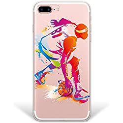 Funda iPhone 8 Plus, [Hybrid ] Jugador de Baloncesto 2 Case Carcasa [ iPhone 8 Plus ] Rígida fabricada en Policarbonato y bordes de TPU Silicona híbrida - Transparente