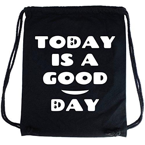 Imagen de premyo bolsa de cuerdas negra 100% algodón con dicho gracioso.  con cuerdas para mujer con impresión today is a good day de alta calidad. gymsac con cordón. saco de gimnasio ideal para viajar