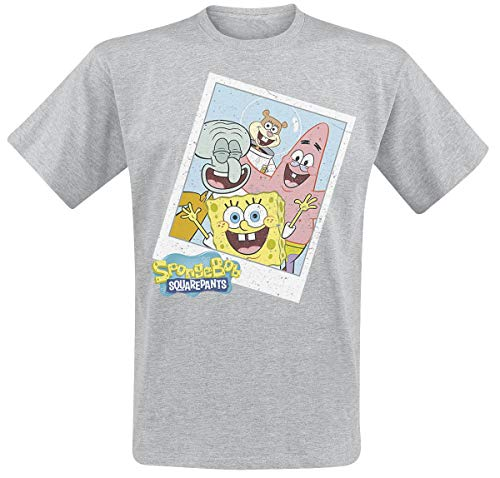 Spongebob Schwammkopf Squad Polaroid T-Shirt grau meliert S - Spongebob Schwammkopf T-shirt T-shirt