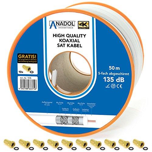 Anadol Satkabel Brandschutz-Koaxialkabel 135dB, 50m Spule, 7mm, 5fach geschirmt,Norm EN 50575, Brandschutzklasse Eca, inklusiv 10 vergoldete F-Stecker