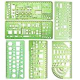 Cancelleria 6 Pezzi Template Righelli di plastica Cerchio Ovale Cerchio Raggio Modelli di disegno for forniture scolastiche e for ufficio per l'insegnamento dell'ingegneria