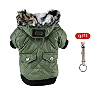 Balai Pet Small Dog Waterproof Warm Coat Cat Puppy Hoodie Thick Jacket Clothes Apparel for Small Breed Dog Like Chihuahua L