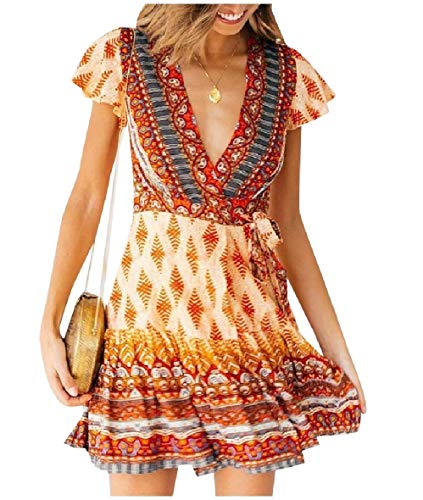 Flared Sleeve Velvet Kleid (Andode Womens Printed Basic Cotton Bohemian Style Flounced Swing Dress Orange L)