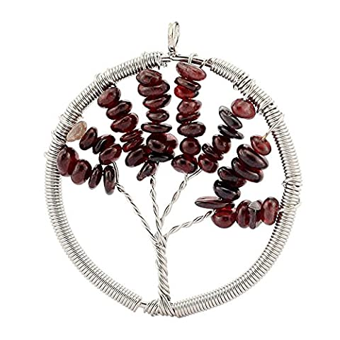 Contever® Jewellery Crystal Element Garnet Pendant Necklace Shaped Tree of Life