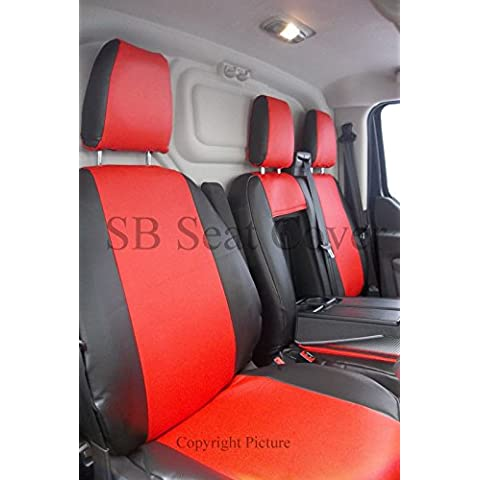 Ford Transit Custom Van fundas de asiento–hecho a medida negro + rojo de piel sintética